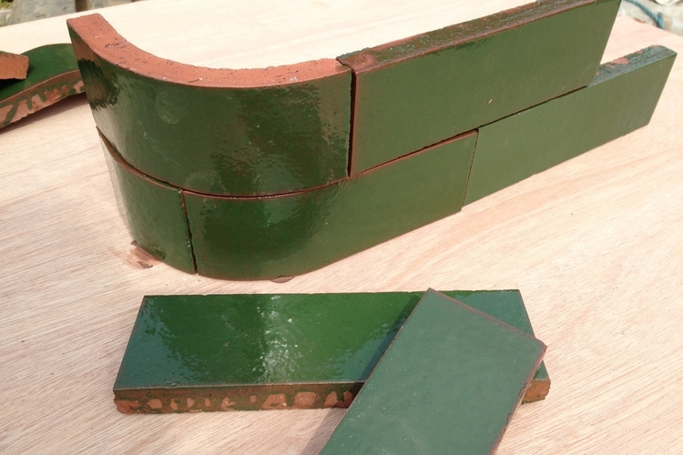 Green Curved Brick Slip Tiles